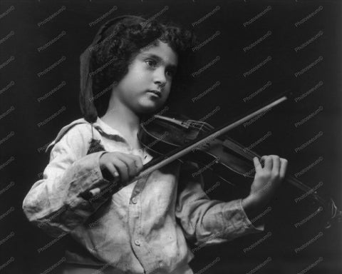 Victorian Child Plays Violin 1900s 8x10 Reprint Of Old Photo