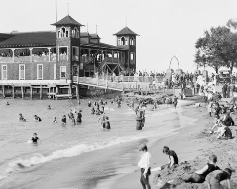 Day At The Beach Ohio Vintage 8x10 Reprint Of Old Photo - Photoseeum