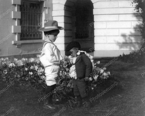 "Adorable Little Boys ""Smell The Roses"" 8x10 Reprint Of Old Photo"