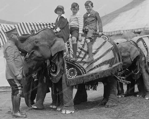 Elephant Ride With Three Children At The Circus 8x10 Reprint Of Old Photo - Photoseeum