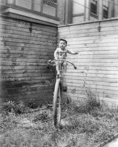 Baby Posing On Bike Vintage 8x10 Reprint Of Old Photo