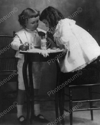 Children Sharing Soda Together Vintage  8x10 Reprint Of Old Photo