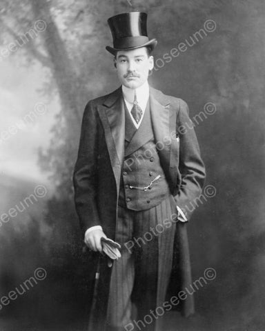 Victorian Man In Top Hat Formal1800s 8x10 Reprint Of Old Photo - Photoseeum