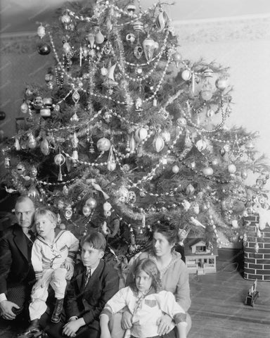 Family Christmas Tree Vintage 8x10 Reprint Of Old Photo