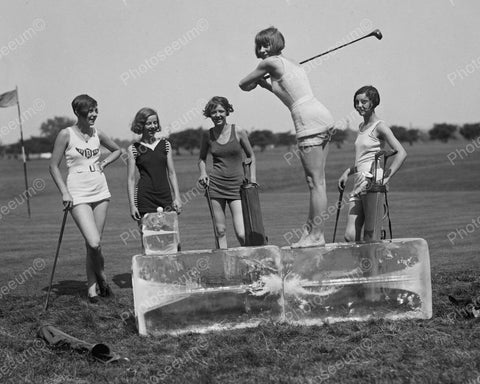 Girl Teeing Off From A Block Of Ice 1926 Vintage 8x10 Reprint Of Old Photo