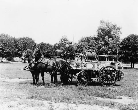 Antique Horse Drawn Fire Wagon & Driver Old 8x10 Reprint Of Photo