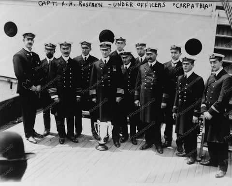 Capt AH Rostron & Officers Of Carp 8x10 Reprint Of Old Photo