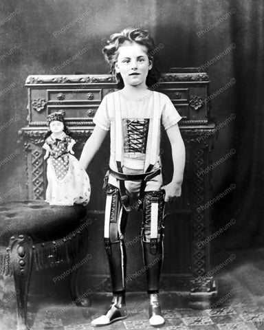 Girl Artificial Legs With Doll 1890 Vintage 8x10 Reprint Of Old Photo - Photoseeum