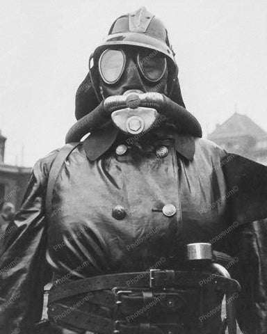 Fire Woman Dressed In Fire Fighting Gear Vintage 8x10 Reprint Of Old Photo