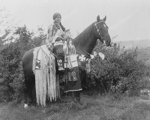 Young Native Indian Woman Sits On Horse 8x10 Reprint Of Old Photo