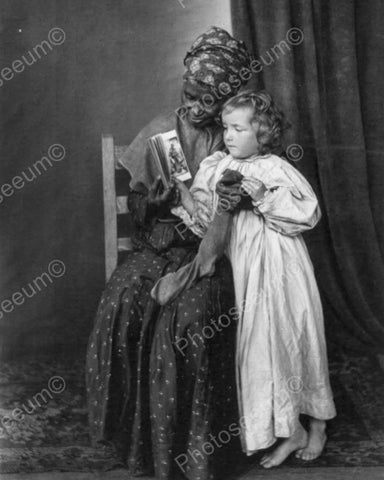 Child with Black Nanny Christmas Vintage 8x10 Reprint Of Old Photo