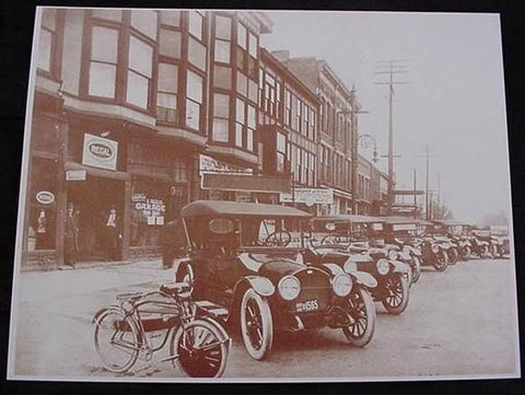 Used Car Lot Regal Sales Ohio Automobiles Vintage Sepia Card Stock Photo 1910s