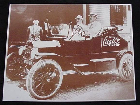 Coca Cola Bottling Salesman Car Vintage Sepia Card Stock Photo 1920s