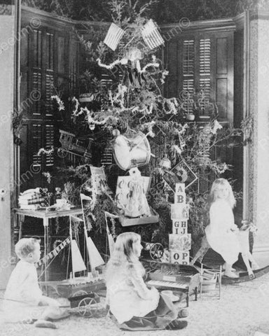 Christmas Day Children By Tree 1880s 8x10 Reprint Of Old Photo - Photoseeum
