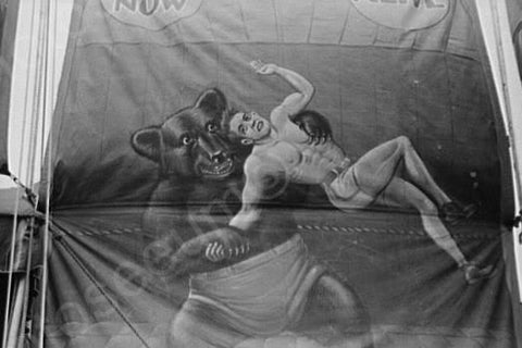 Vermont Sideshow Bear Wrestling Man 1940s 4x6 Reprint Of Old Photo