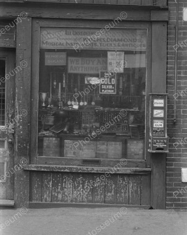 Pawn Shop With Early Gum Vending Machine 1937  Vintage 8x10 Reprint Of Old Photo