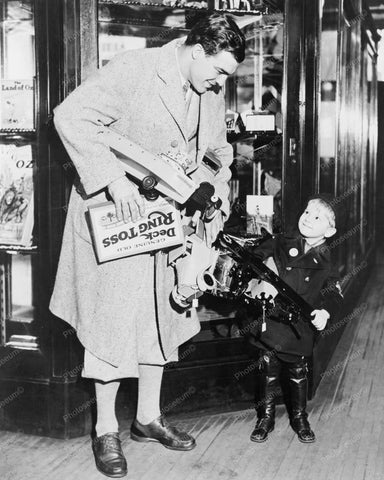 Father & Son Go Toy Shopping! 8x10 Reprint Of Old Photo