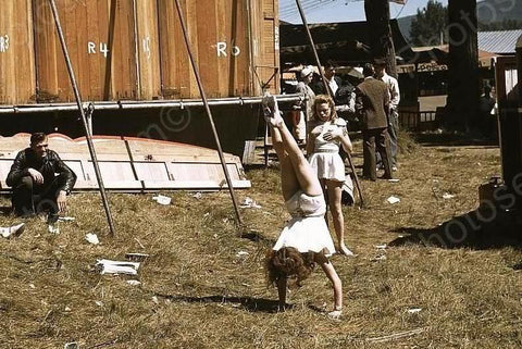 Vermont Fair Acrobat Girls Practicing 4x6 Reprint Of Old Photo