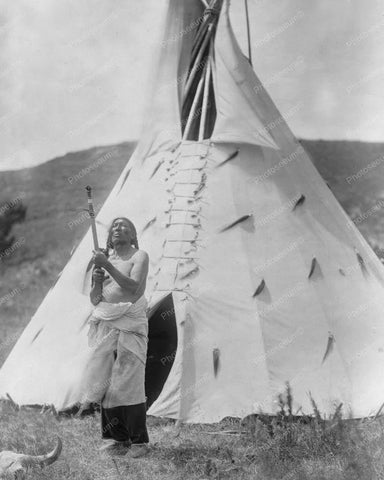 Dakota Indian In Front of TePee Vintage 8x10 Reprint Of Old Photo