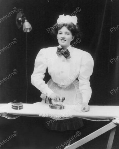 French Maid Ironing 1908 Vintage 8x10 Reprint Of Old Photo