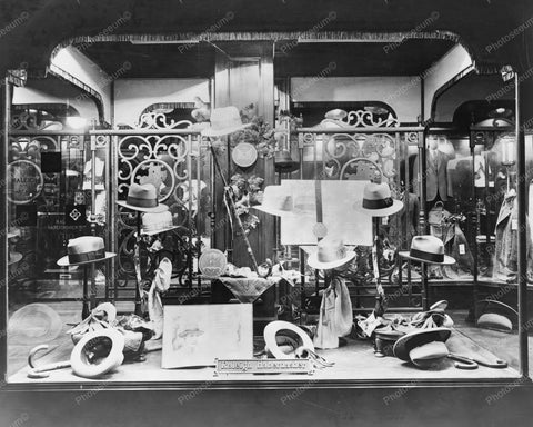 Mens Hats Display In Dept Store Window 8x10 Reprint Of Old Photo