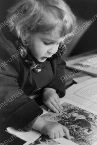 Endearing Little Girl Tot Reads Book! 4x6 Reprint Of Old Photo