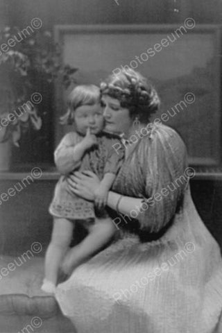 Victorian Mother Cuddlles Thougtful Tot 4x6 Reprint Of Old Photo