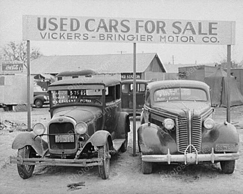 "Antique ""Used Cars For Sale"" Auto Lot 8x10 Reprint Of Old Photo"