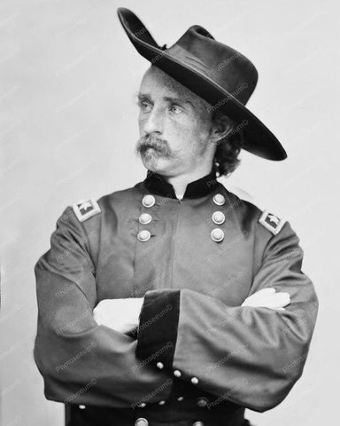 Custer In Uniform Portrait Vintage 1870s 8x10 Reprint Of Old Photo