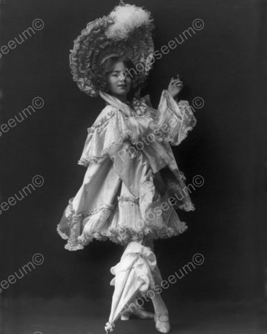 Victorian Girl In Ruffles With Parasol 1800 8x10 Reprint Of Photo