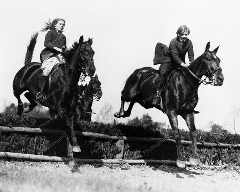 Equestrian Riders Jumping Horses 8x10 Reprint Of Old Photo