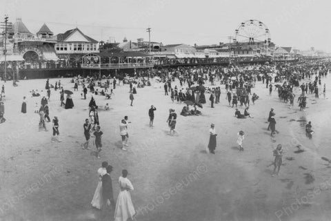 Atlantic City Beach Boardwalk Scene 4x6 Reprint Of 1900s Old Photo