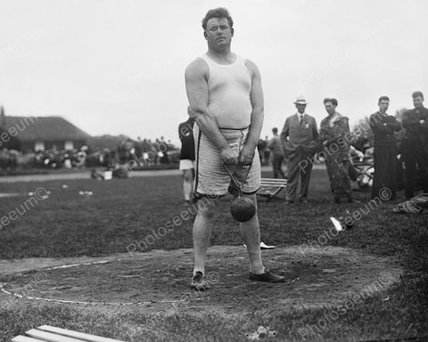Brawny Hammer Throw Athlete Man Ready  8x10 Reprint Of Old Photo