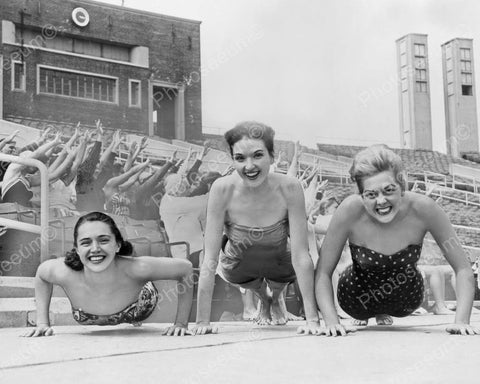 Bathing Suit Beauties Do Push Ups 1950s 8x10 Reprint Of Old Photo