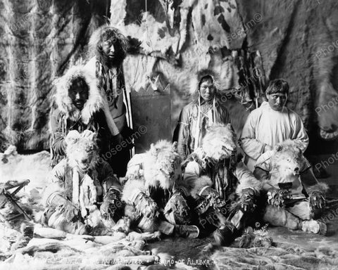 Eskimos With Wolf Heads 1914 Vintage 8x10 Reprint Of Old Photo