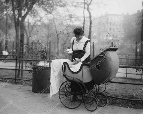 Woman Pushing Antique Baby Carriage Vintage 8x10 Reprint Of Old Photo