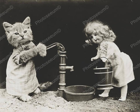 Cat & Doll Watering 1915 8x10 Reprint Of Old Photo