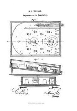 USA Patent Redgrave Improved Bagatelle Pinball 1870's Drawings