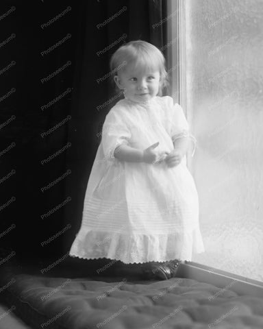 Beautiful Vintage Baby Girl In Gown 8x10 Reprint Of Old Photo