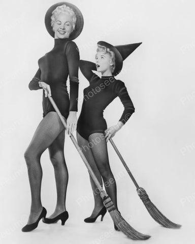 Halloween Mother & Daughter Witches 1953 Vintage 8x10 Reprint Of Old Photo
