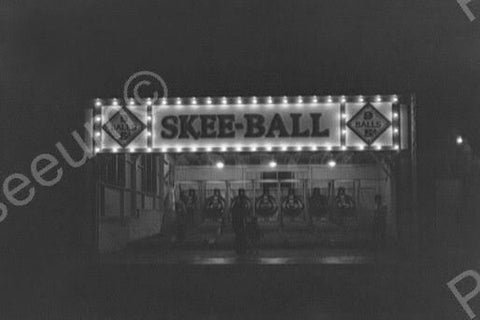 Glen Echo Skee Ball Game Lit Up At Night Old 4x6 Reprint Of Photo
