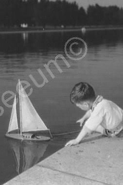 Adorable Small Boy With Toy Sailboat 4x6 Reprint Of Old Photo