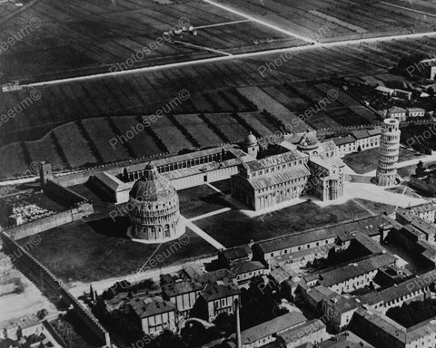 Aerial View Of Leaning Tower Of Pisa 1930 Vintage 8x10 Reprint Of Old Photo - Photoseeum