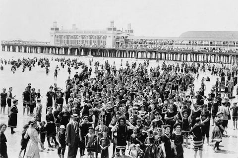 Atlantic City Packed Beach Scene 4x6 1910s Reprint Of Old Photo