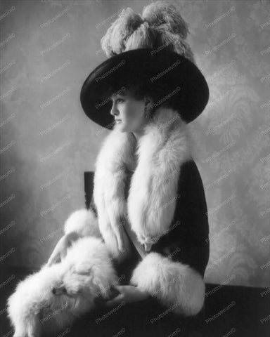 Lady Dressed In Furs and Large Hat 1900s 8x10 Reprint Of Old Photo - Photoseeum