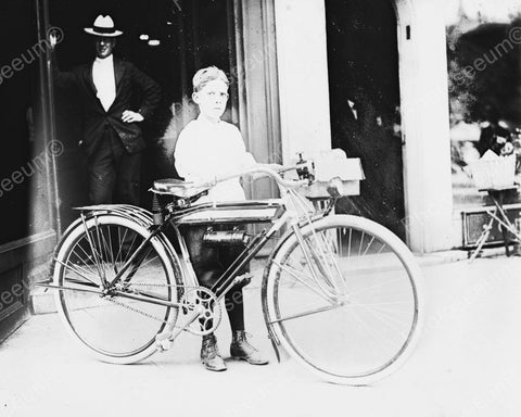 Boy With New Bicycle Viintage 8x10 Reprint Of Old Photo