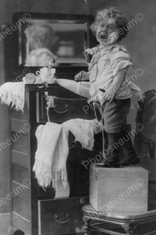 Victorian Boy Tot Cries Cut Shaving! 4x6 Reprint Of Old Photo