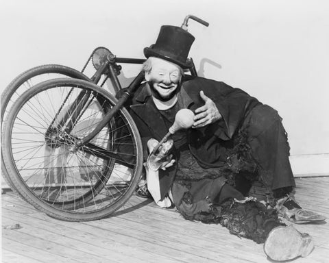 Clown Jackson Joe With His Cycle 1940s 8x10 Reprint Of Old Photo