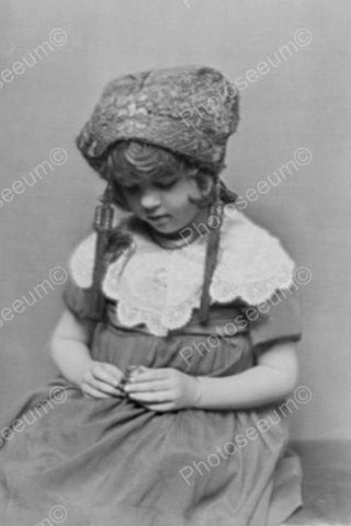 Wistful Little Girl In Woolen Hat Classic 4x6 Reprint Of Old Photo