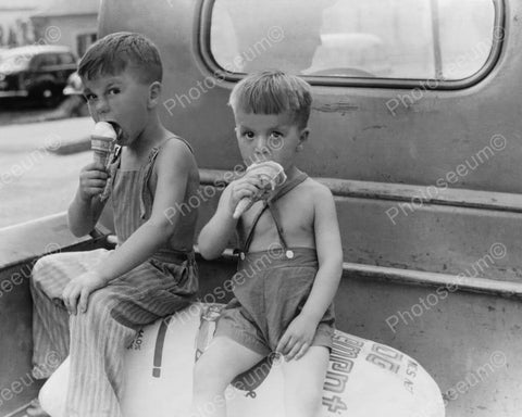 Boys & Ice Cream Back Of Pickup Truck 8x10 Reprint Of Old Photo